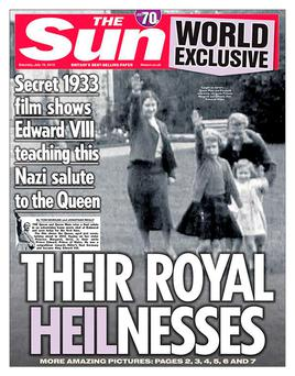 The front page of The Sun newspaper yesterday showing a still of footage from 1933 that shows a young Queen performing a Nazi salute with her family at Balmoral. TheSun/Twitter/PA Wire.