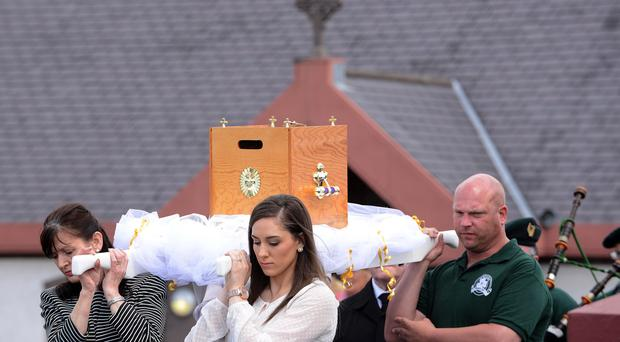Catherine Burns was buried today after a funeral mass at Clonoe Chapel, near Coalisland in Co Tyrone. Pic: Arthur Allison/Pacemaker Press.