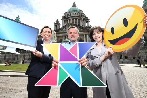 TechXplore's Carl Whyte of MW Advocate is joined by event partners Karthyn Walls from Mills Selig, and Edel Mullan from Belfast City Council