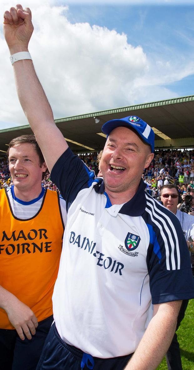 We've done it: Monaghan manager Malachy O'Rourke celebrates after the final whistle
