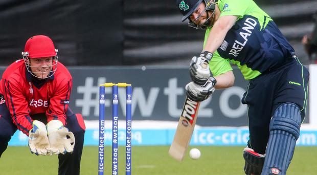 On strike: Paul Stirling en route to hitting a 55 against Jersey at Malahide