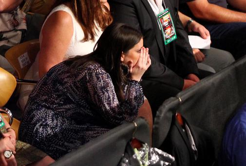 Christine Frampton goes through all the emotions watching her husband Carl's fight on Saturday