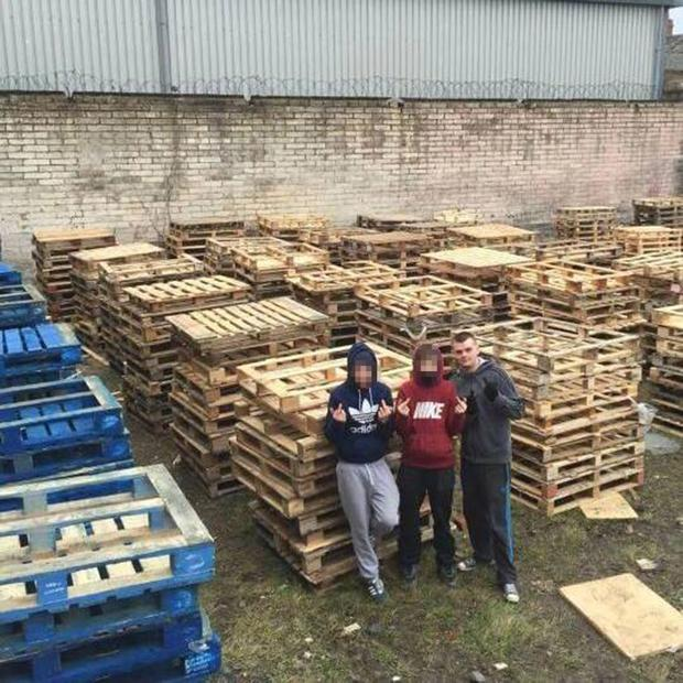 Ryan McBlain, right, bonfire builder fined for stealing pallets