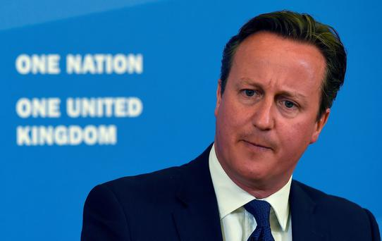 British Prime Minister David Cameron delivers a speech in Birmingham on July 20, 2015. Conspiracy theories of a powerful Jewish cabal or a Western plan to destroy Islam must be challenged in efforts to counter radicalisation, Cameron said. AFP PHOTO / POOL / PAUL ELLISPAUL ELLIS/AFP/Getty Images