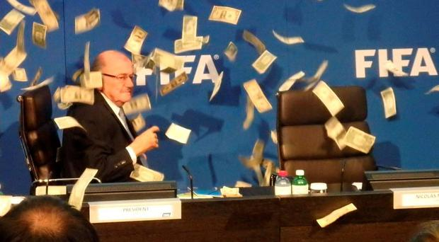 Sepp Blatter after being pranked by Lee Nelson.