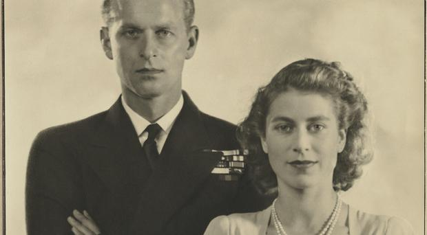 Prince Philip, Duke of Edinburgh; Queen Elizabeth II by Dorothy Wilding chlorobromide print on tissue and card mount, 1947