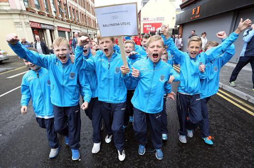 Hughes Insurance Foyle Cup 2015 Opening Parade. Ballymena United FC. Photo Lorcan Doherty Photography