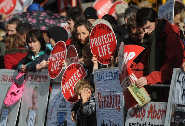 Protesters outside the new Marie Stopes private clinic in Belfast. 18/10/2012. Pic: Colm Lenaghan/Pacemaker