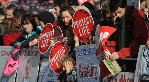 Protesters outside the Marie Stopes private clinic in Belfast. 18/10/2012. Pic: Colm Lenaghan/Pacemaker