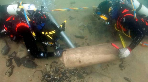 Spanish Armada wreck in Streedagh in Co Sligo: Canon being dredged by archaeologists