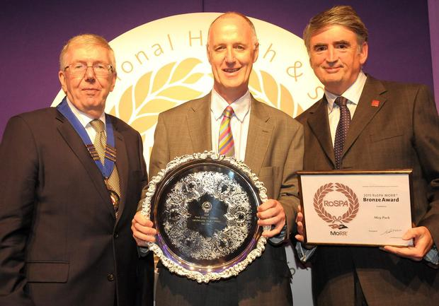 From left, RoSPA president Lord McKenzie with Mike Mullan, Moy Park HR director, and Tom Mullarkey, RoSPA chief executive