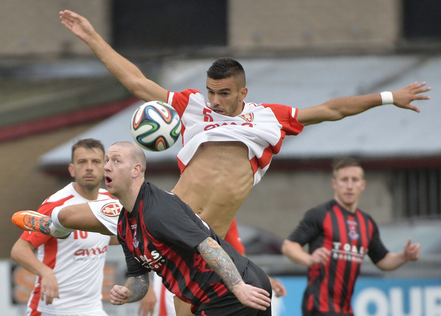 Champions League: Crusaders v Skenderbeu Korce at Seaview Belfast. Picture by Stephen Hamilton / Presseye