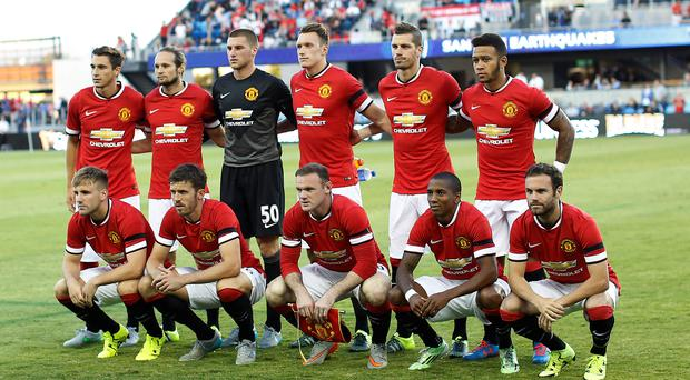 The starting eleven of Manchester United pose for a group photo before their International Champions Cup match against San Jose Earthquakes.