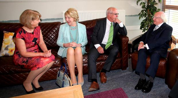 Michael D Higgins (right) and wife Sabina (second left) with Colin and Wendy Parry