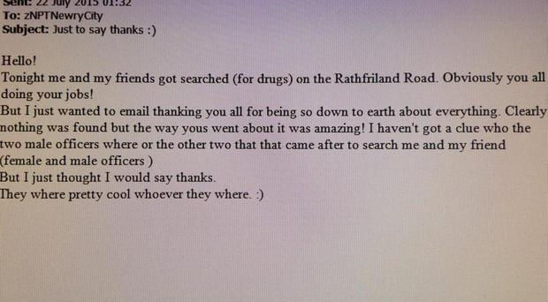 The email sent to police in Newry