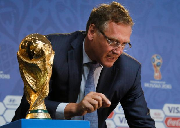 FIFA Secretary General Jerome Valcke answers journalists' questions after a press conference at a hall, close to the Constantine (Konstantinovsky) Palace in St. Petersburg, Russia, Friday, July 24, 2015, on the eve of the preliminary draw for the 2018 World Cup in Russia. (AP Photo/Dmitry Lovetsky)