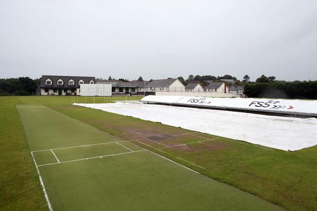 Sticky wicket: the pitch at The Green in Comber wasn't fit for play following lengthy rain showers