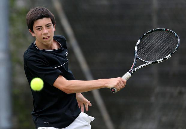 Matthew O'Boyle pictured at the Ulster hardcourt tennis championships at the Boat Club tennis club.
