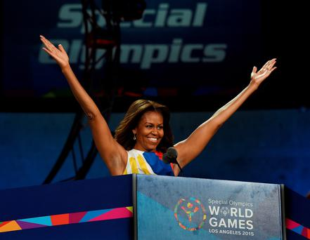 First Lady Michelle Obama declares the 2015 Special Olympics World Games officially open during a ceremony at the Los Angeles Memorial Coliseum yesterday