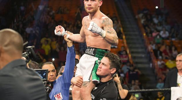 Press Eye - Belfast - Northern Ireland - 18th July 2015 - Belfast born Carl Frampton v Alejandro Gonzalez Jr at the IBF Championship fight in El Paso, Texas Picture by Ivan Pierre Aguirre / Press Eye