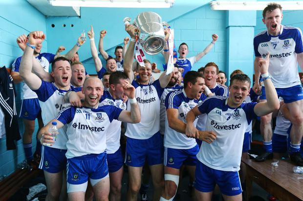 Ulster GAA Football Senior Championship Final, Clones, Co. Monaghan 19/7/2015 Monaghan vs Donegal Monaghan players celebrate in the dressing room after the match Mandatory Credit ?INPHO/Cathal Noonan