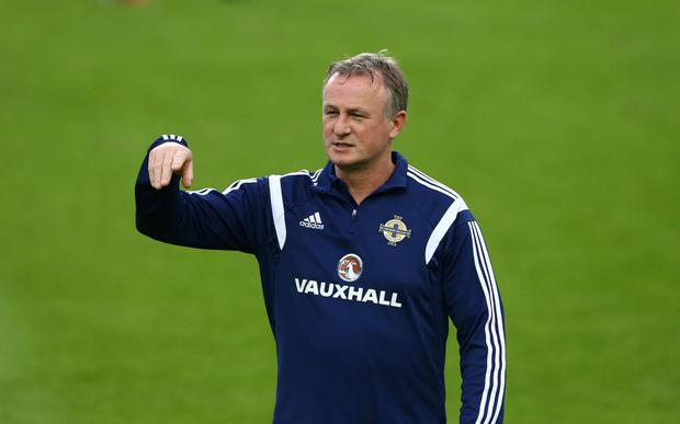 06th September 2014 ??William Cherry / Presseye Northern Ireland manager Michael O'Neill during Saturdays training session at the FTC Groupama Arena in Budapest ahead of Sundays UEFA EURO 2016 Qualifier against Hungary.