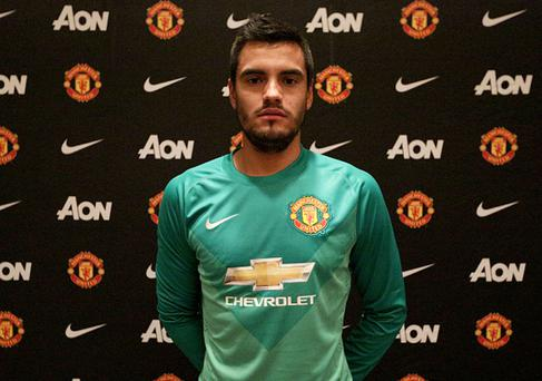 Sergio Romero of Manchester United after signing for the club on July 26, 2015 in San Jose, California