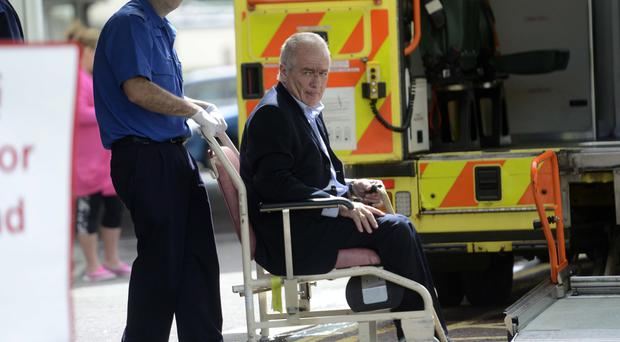 Frank McGirr, 60, appeared at Armagh Court accused of assaulting Willie Frazer and making a threat to kill him. After the hearing Mr McGirr was required to sign for alterations to his bail conditions but apparently slipped and fell to the bottom of the stairs.