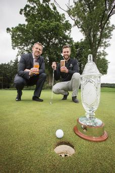 Winner on pints: Brian Beattie, Marketing Director for Tennent's NI, with NI Open Event Manager Ross Oliver