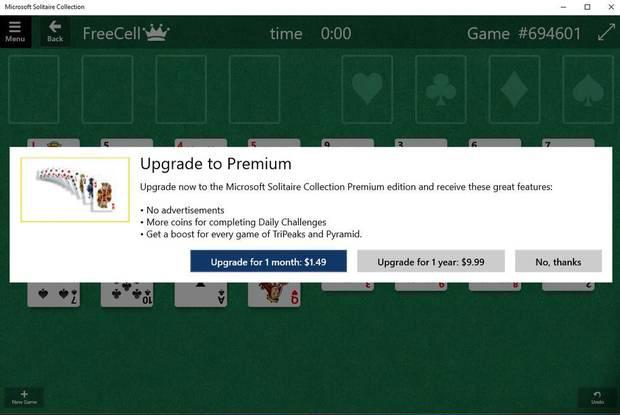 Microsoft Solitaire Collection Premium costs $1.49 a month, or $9.99 a year