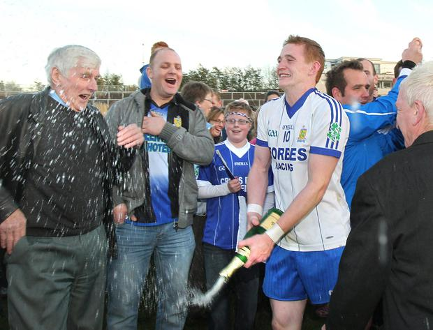 Ballinderry GAC and Derry GAA player Aaron Devlin (Number 10) celebrating winning the Derry Senior Football Championship in 2012. Picture Margaret McLaughlin