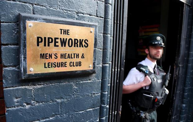 Police and forensic officers at the Pipeworks gentlemen's bar in Union Street. Picture by Kevin Scott / Presseye
