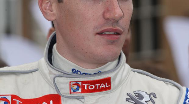 Craig Breen crashed heavily on his first run, with his R5 Peugeot 208 rolling three times before ending up amongst roadside trees