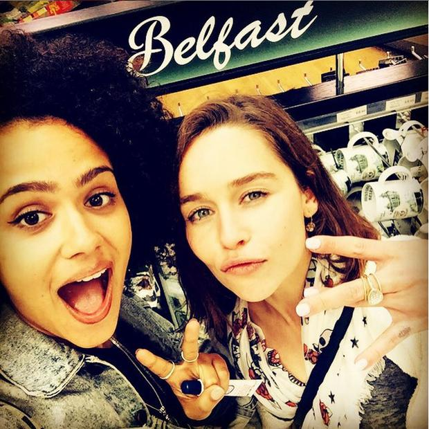Nathalie Emmanuel and Emilia Clarke touch down in Belfast