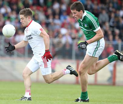 Bounding forward: Mark Bradley has become a key playmaker for Mickey Harte since making the step up to senior level
