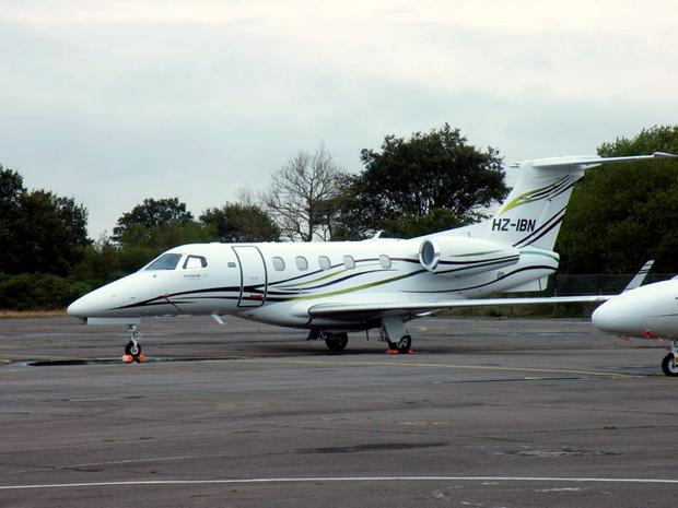 Handout photo dated 15/08/14 of the Phenom 300 jet believed to be the aircraft that crash-landed into a car auction site at Blackbushe Airport. Photo: Robert Belcher/PA