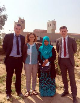 KRW lawyer Gavin Booth (left), Darragh Mackin (right), Sinn Fein MEP Lynn Boylan (second left) and Ibrahim Halawa's sister Khadija in Cairo after they were barred from an Egyptian legal hearing for Irish man, Ibrahim Halawa, who is accused of murder. KRW Law Belfast/PA Wire.