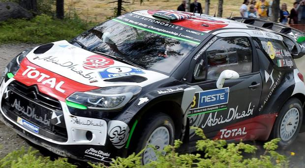 Costly error: Kris Meeke's Citroen was travelling at less than 20kph when it collided with a tree