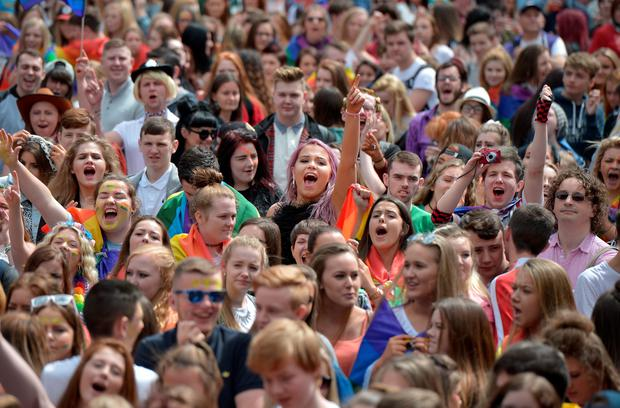 Thousands of participants and supporters take part in the 25th annual Belfast Pride parade on August 1, 2015 in Belfast, Northern Ireland.