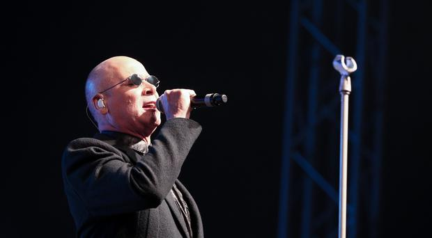 Pictured is The Human League on stage during The Human League and Marc Almond Headline act night at the Big Tent in the Falls Park, Belfast. Picture - Kevin Scott / Presseye