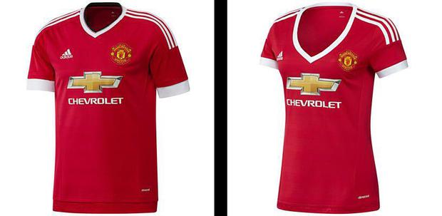 Manchester United's new jerseys: On the left is the men's top and on the right is the women's version with plunging neckline