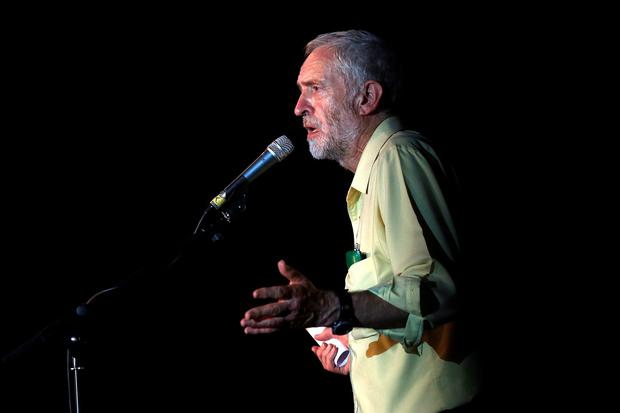 Jeremy Corbyn speaks to supporters at a Labour party leadership rally on August 3, 2015 in London, England. (Photo by Carl Court/Getty Images)