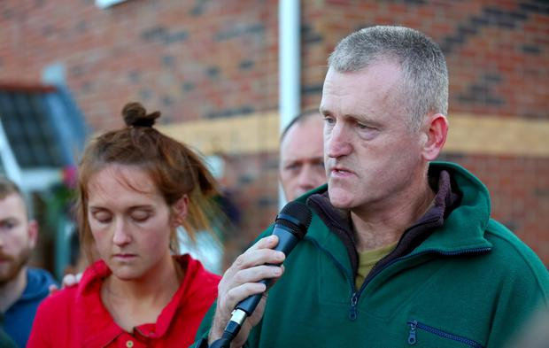 Jennifer Dornan's father Stephen speaks at the vigil. Photo: Kevin Scott / Presseye