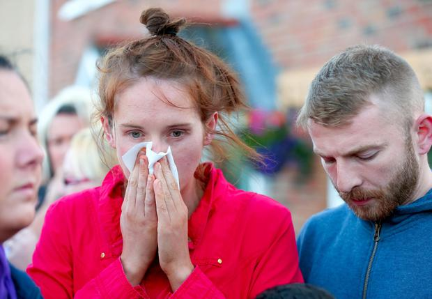 Sister of Jennifer Dornan, Claire Dornan, pictured during the vigil. Picture - Kevin Scott / Presseye