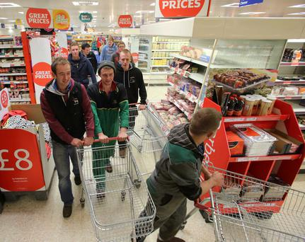 Dairy farmers protest over milk prices at Sainsbury's in Coleraine yesterday