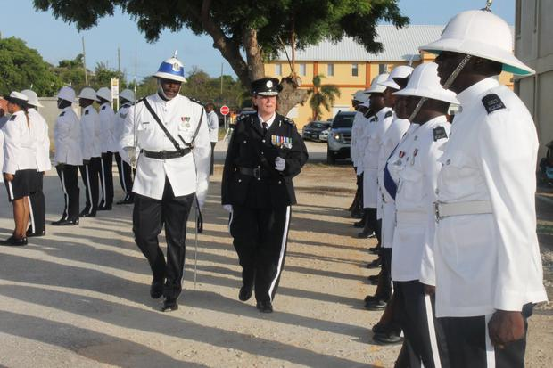 Former PSNI detective superintendent Amanda Stewart takes her first parade as commissioner of the Royal Anguilla Police Force.