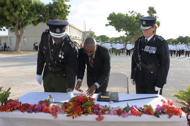 Amanda is sworn in as the first ever female police commissioner in the Caribbean.