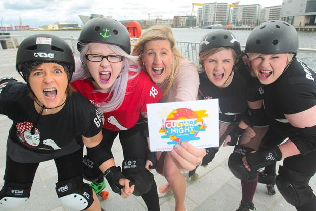 Jenni Barkley, Belfast Harbour's Communications & Corporate Responsibility Manager (centre) with the Belfast Rockets Roller Derby team, one of this year's Culture Night Belfast performers.