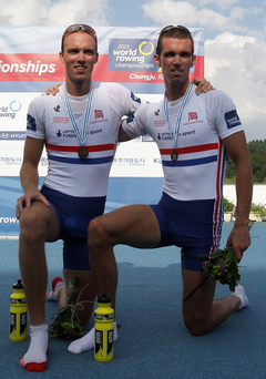 Family fortunes: Richard and Peter Chambers collect their World bronze medals, but they only have eyes for gold in Rio