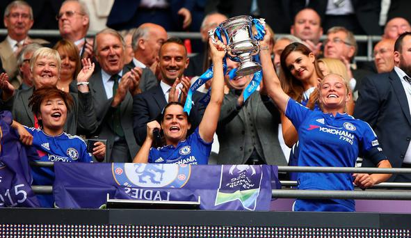 Wembley wahey: Celebrations for Chelsea Ladies as they win a proper trophy at Wembley